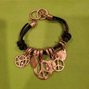 Goldtone Leather Charm Peace Bracelet